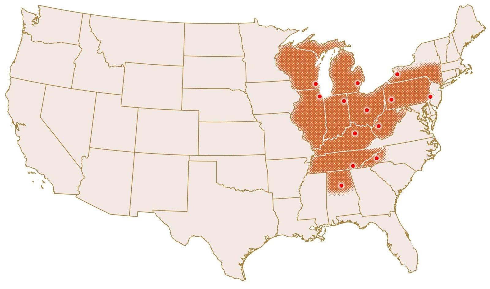 Postindustrial America Veterans Map